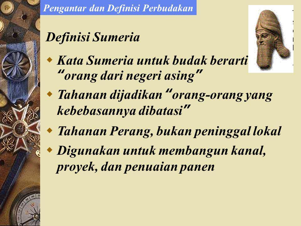 Definisi Sumeria  Kata Sumeria untuk budak berarti orang dari negeri asing  Tahanan dijadikan orang-orang yang kebebasannya dibatasi  Tahanan Perang, bukan peninggal lokal  Digunakan untuk membangun kanal, proyek, dan penuaian panen Pengantar dan Definisi Perbudakan