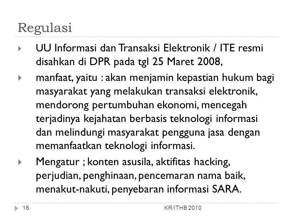 Regulasi KR/ITHB 2010  U U Informasi dan Transaksi Elektronik / ITE resmi disahkan di DPR pada tgl 25 Maret 2008,  manfaat, yaitu : akan menjamin ke