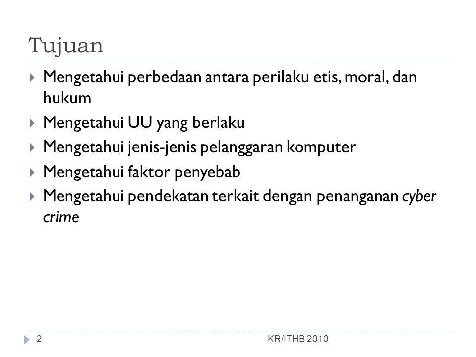 Modus cybercrime (di Indonesia) KR/ITHB 2010  Pencurian Nomor Kartu Kredit,  Memasuki, memodifikasi atau merusak homepage (hacking),  Penyerangan situs atau e-mail melalui virus atau spamming,  Pencurian akses internet yang sering dialami oleh ISP,  Kejahatan nama domain 13