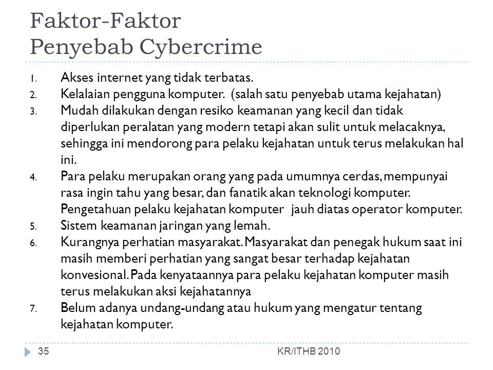 Faktor-Faktor Penyebab Cybercrime KR/ITHB 2010 1. Akses internet yang tidak terbatas. 2. Kelalaian pengguna komputer. (salah satu penyebab utama kejah