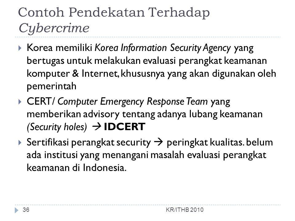 Contoh Pendekatan Terhadap Cybercrime  Korea memiliki Korea Information Security Agency yang bertugas untuk melakukan evaluasi perangkat keamanan kom