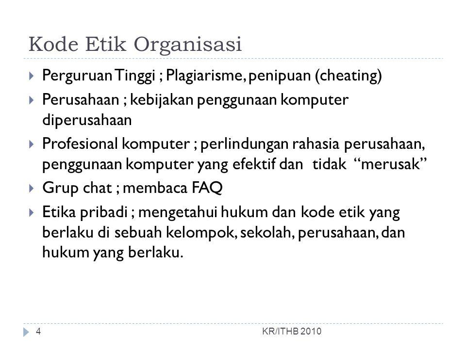 Kode Etik Organisasi  Perguruan Tinggi ; Plagiarisme, penipuan (cheating)  Perusahaan ; kebijakan penggunaan komputer diperusahaan  Profesional kom