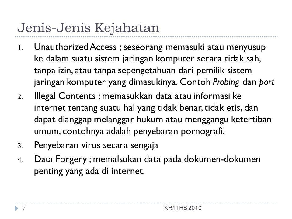 Jenis-Jenis Kejahatan 1. Unauthorized Access ; seseorang memasuki atau menyusup ke dalam suatu sistem jaringan komputer secara tidak sah, tanpa izin,