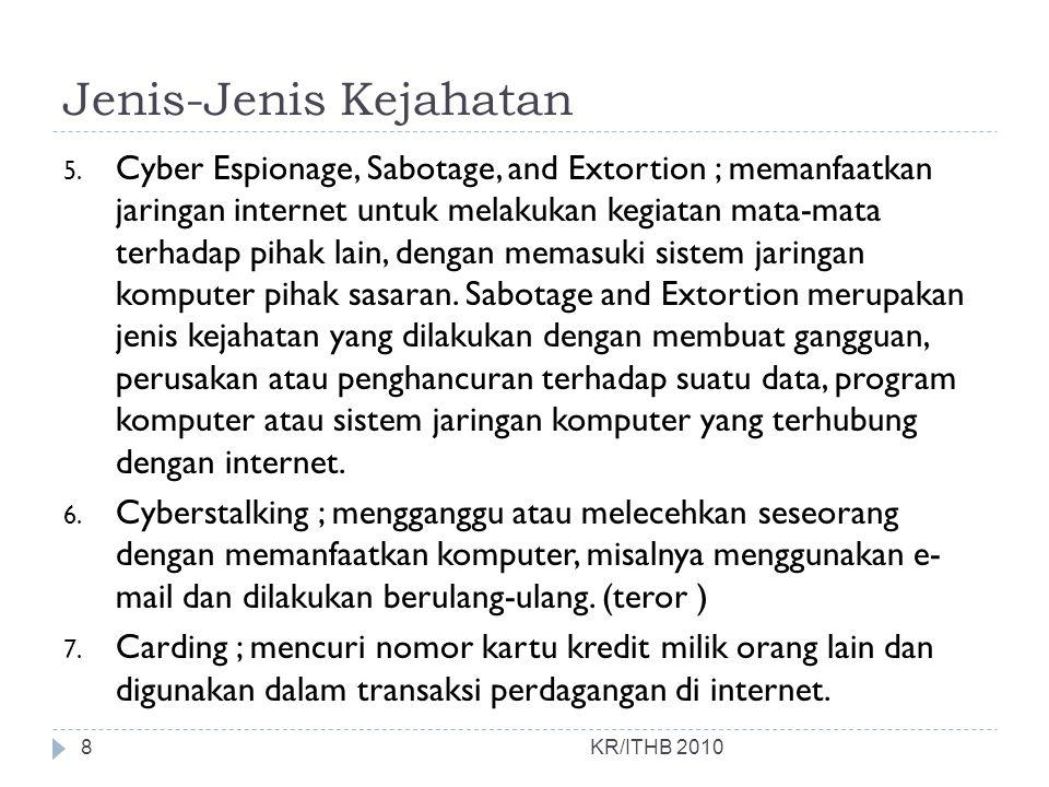 Jenis-Jenis Kejahatan 5. Cyber Espionage, Sabotage, and Extortion ; memanfaatkan jaringan internet untuk melakukan kegiatan mata-mata terhadap pihak l