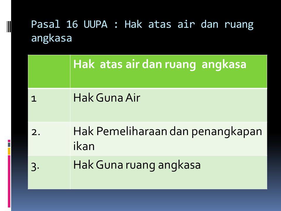 Pasal 16 UUPA : Hak atas air dan ruang angkasa Hak atas air dan ruang angkasa 1Hak Guna Air 2.Hak Pemeliharaan dan penangkapan ikan 3.Hak Guna ruang a