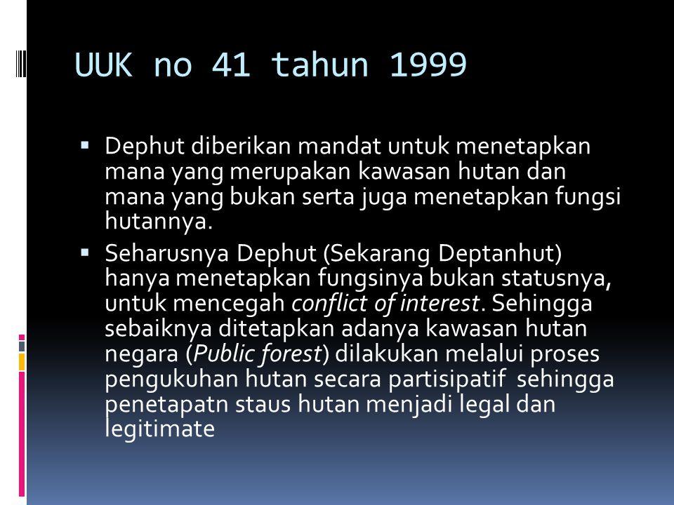 UUK no 41 tahun 1999  Dephut diberikan mandat untuk menetapkan mana yang merupakan kawasan hutan dan mana yang bukan serta juga menetapkan fungsi hut