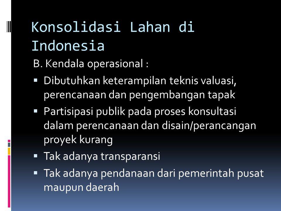 Konsolidasi Lahan di Indonesia B. Kendala operasional :  Dibutuhkan keterampilan teknis valuasi, perencanaan dan pengembangan tapak  Partisipasi pub
