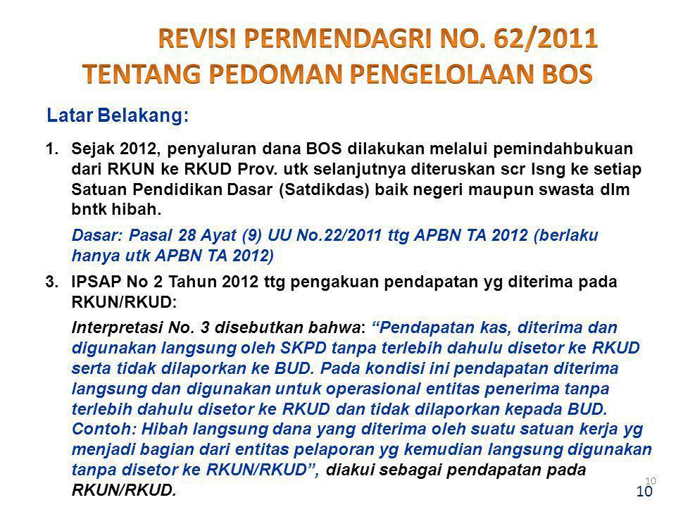 1.Sejak 2012, penyaluran dana BOS dilakukan melalui pemindahbukuan dari RKUN ke RKUD Prov. utk selanjutnya diteruskan scr lsng ke setiap Satuan Pendid