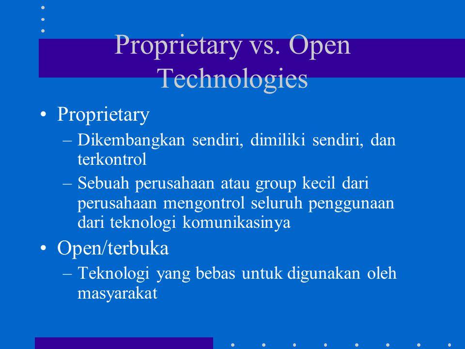Proprietary vs. Open Technologies Proprietary –Dikembangkan sendiri, dimiliki sendiri, dan terkontrol –Sebuah perusahaan atau group kecil dari perusah