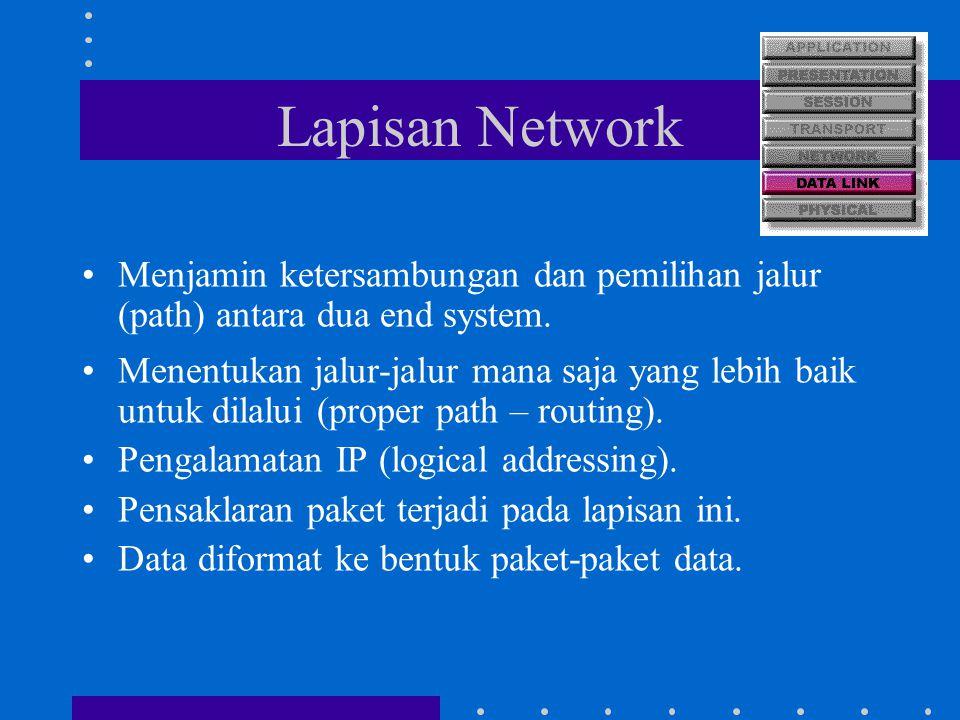 Lapisan Network Menjamin ketersambungan dan pemilihan jalur (path) antara dua end system. Menentukan jalur-jalur mana saja yang lebih baik untuk dilal