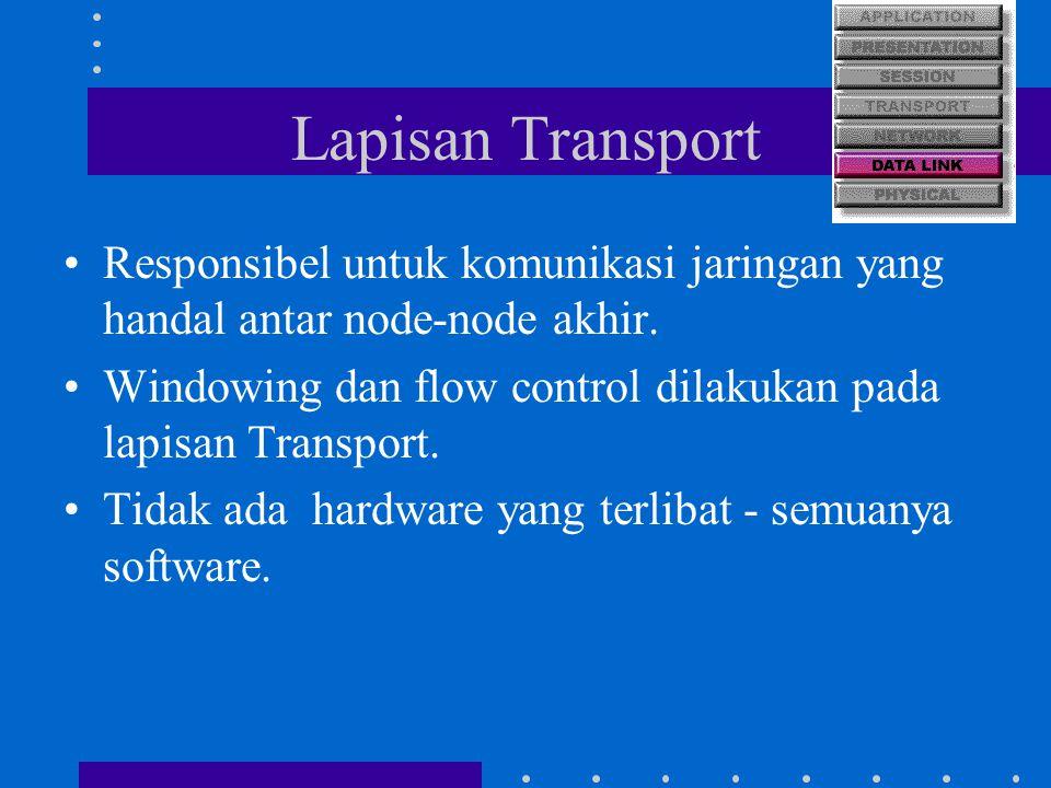Lapisan Transport Responsibel untuk komunikasi jaringan yang handal antar node-node akhir. Windowing dan flow control dilakukan pada lapisan Transport