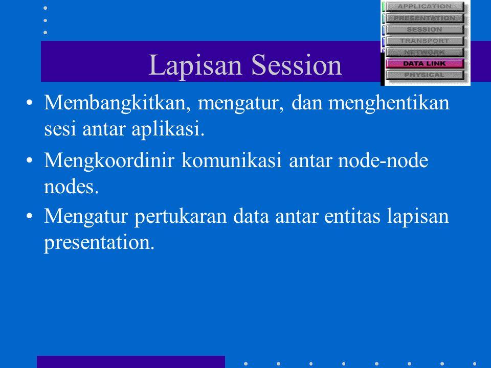 Lapisan Session Membangkitkan, mengatur, dan menghentikan sesi antar aplikasi. Mengkoordinir komunikasi antar node-node nodes. Mengatur pertukaran dat