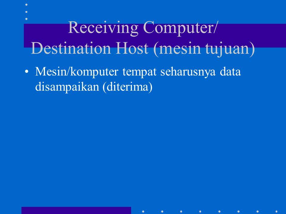 Receiving Computer/ Destination Host (mesin tujuan) Mesin/komputer tempat seharusnya data disampaikan (diterima)
