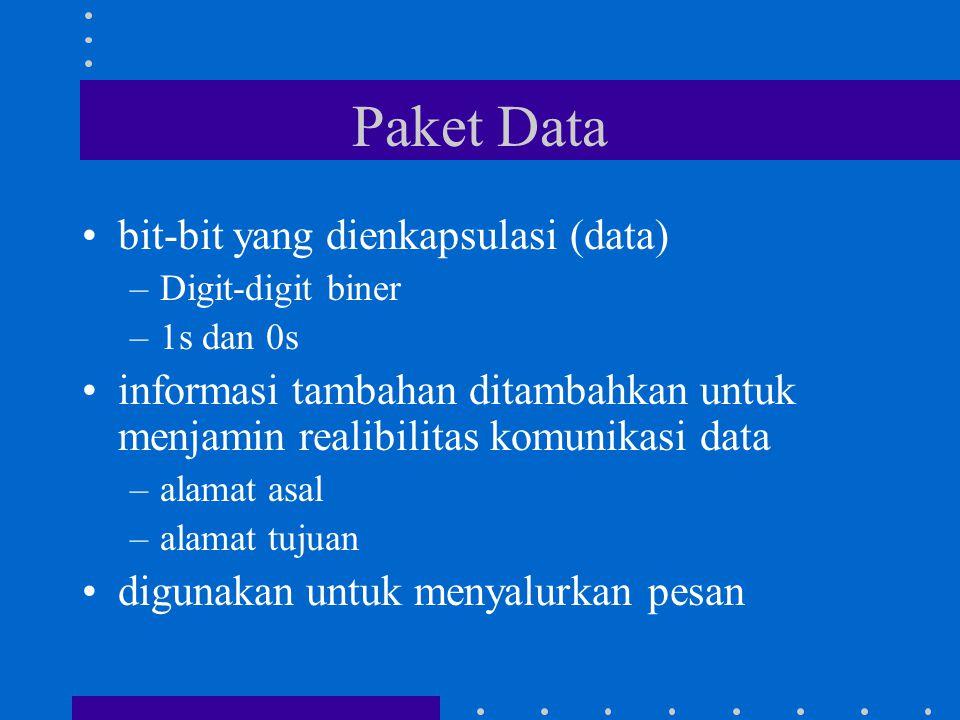 Paket Data bit-bit yang dienkapsulasi (data) –Digit-digit biner –1s dan 0s informasi tambahan ditambahkan untuk menjamin realibilitas komunikasi data –alamat asal –alamat tujuan digunakan untuk menyalurkan pesan