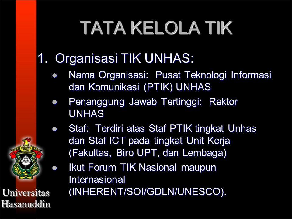 TATA KELOLA TIK 1. Organisasi TIK UNHAS: Nama Organisasi: Pusat Teknologi Informasi dan Komunikasi (PTIK) UNHAS Nama Organisasi: Pusat Teknologi Infor