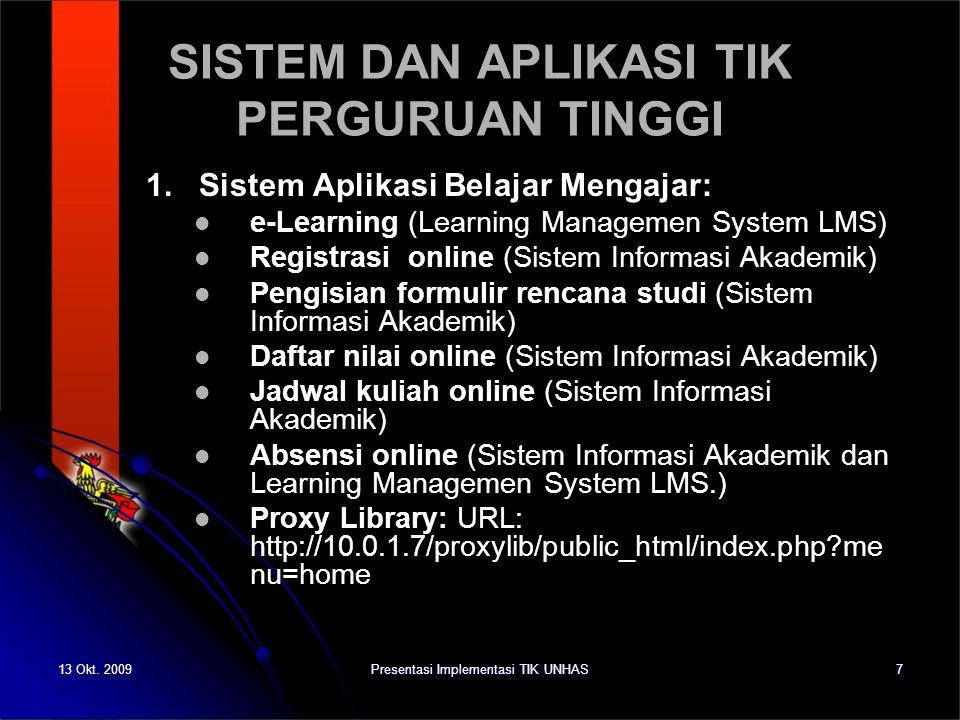 13 Okt. 2009Presentasi Implementasi TIK UNHAS7 SISTEM DAN APLIKASI TIK PERGURUAN TINGGI 1. Sistem Aplikasi Belajar Mengajar: e-Learning (Learning Mana