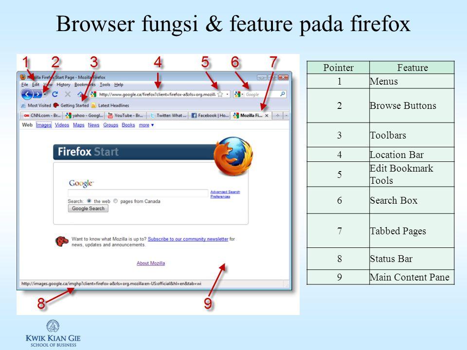 Browser function & feature lanjutan 2 5.Wireless Internet Access a.Saat ini banyak peralatan genggam yang dapat digunakan untuk mengakses internet b.WAP (Wireless Application Protocol): merupakan protocol/standar yang digunakan halaman web yang ditujukan untuk perangkat komputer genggam
