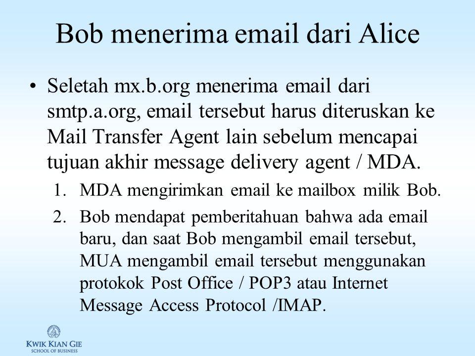 Alice mengirim email ke Bob 1.Alice membuat email menggunakan Mail User Agent / MUA dan mengirimkannya menggunakan protocol Simple Mail Transfer Protocol / SMTP (RFC 6409) dari komputernya ke local mail submission agent / MSA, smtp.a.org, yang dikelola internet service provider (ISP)-nya Alice.