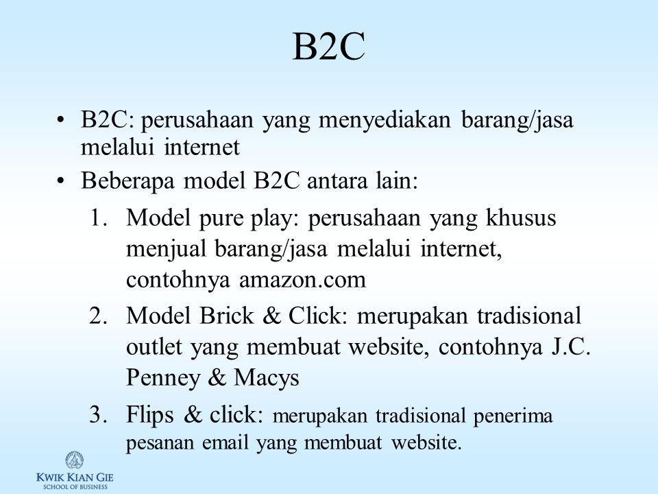 E-Commerce Istilah e-commerce: membeli atau menjual melalui internet Bisa digolongkan menjadi tiga: 1.Business to Consumer (B2C) 2.Business to Business (B2B) 3.Consumer to Consumer (C2C)
