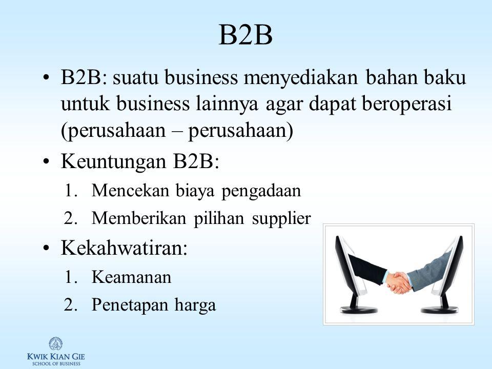 B2C B2C: perusahaan yang menyediakan barang/jasa melalui internet Beberapa model B2C antara lain: 1.Model pure play: perusahaan yang khusus menjual barang/jasa melalui internet, contohnya amazon.com 2.Model Brick & Click: merupakan tradisional outlet yang membuat website, contohnya J.C.