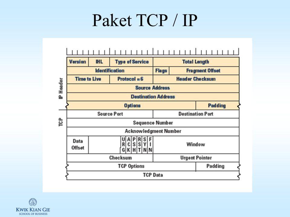 Sekilas tentang TCP/IP Data dikirim melalui internet dengan ukuran yang sama besar dan disebut dengan packet, dimana header packet berisi alamat yang dituju dan alamat pengirim Protokol yang digunakan adalah Transmission Control Protocol/Internet Protocol (TCP/IP) –TCP untuk membuat dan menggabungkann paket –IP menangani alamat tujuan dan pengirim (digunakan oleh router untuk meneruskan paket)