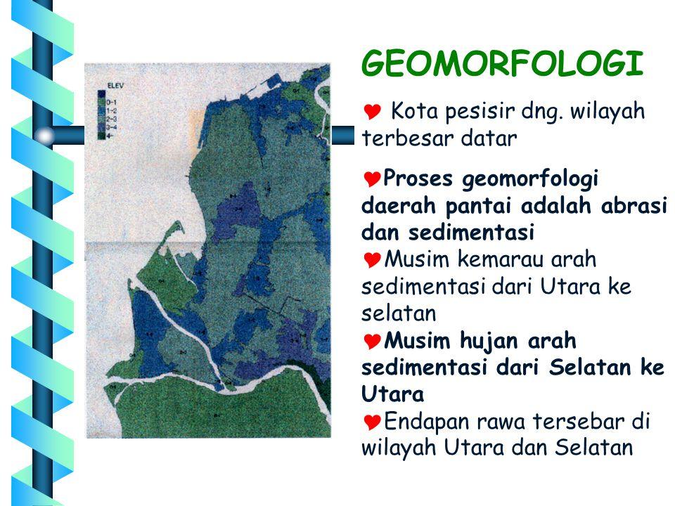 GEOMORFOLOGI  Kota pesisir dng. wilayah terbesar datar  Proses geomorfologi daerah pantai adalah abrasi dan sedimentasi  Musim kemarau arah sedimen