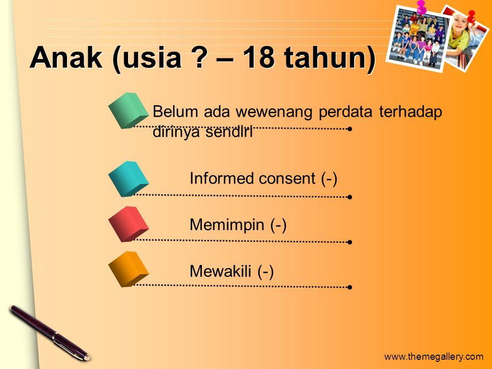 www.themegallery.com Anak (usia ? – 18 tahun) Belum ada wewenang perdata terhadap dirinya sendiri Informed consent (-) Memimpin (-) Mewakili (-)