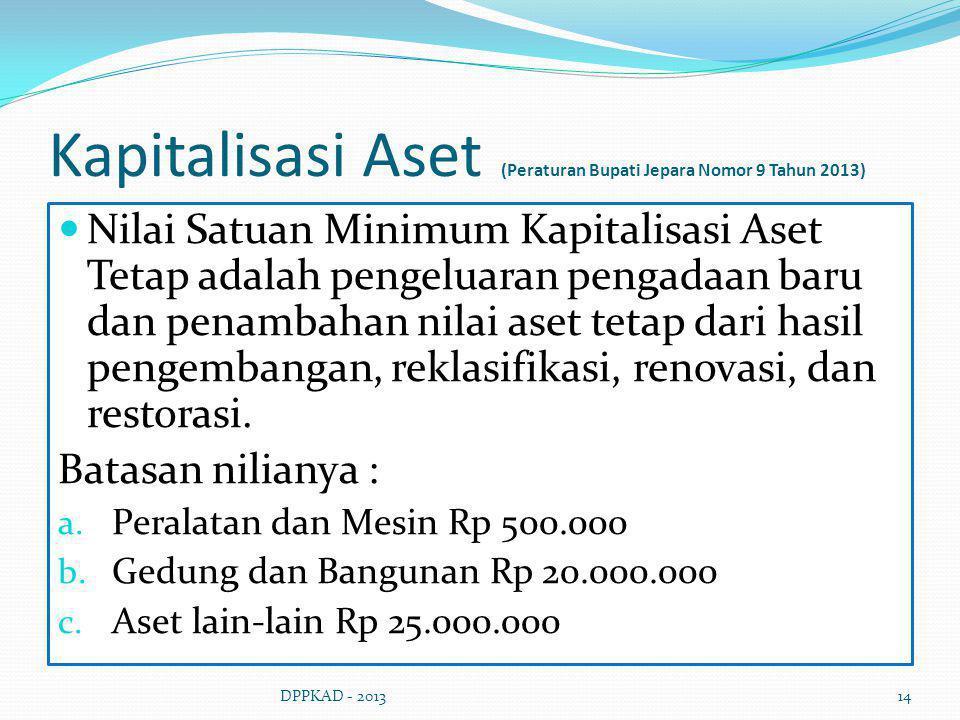 Kapitalisasi Aset (Peraturan Bupati Jepara Nomor 9 Tahun 2013) Nilai Satuan Minimum Kapitalisasi Aset Tetap adalah pengeluaran pengadaan baru dan pena