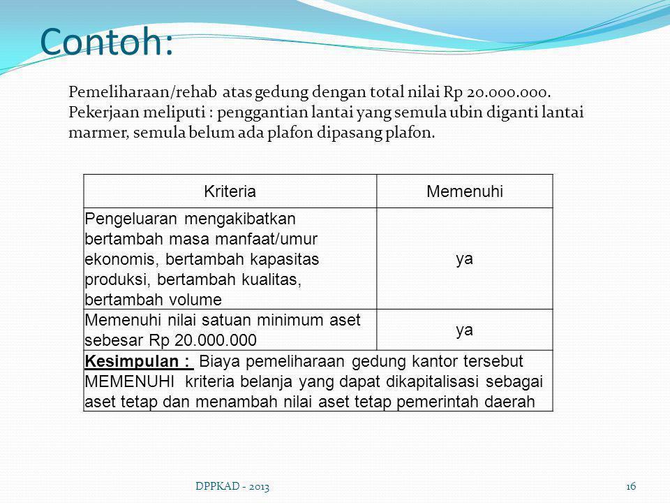 Contoh: DPPKAD - 201316 KriteriaMemenuhi Pengeluaran mengakibatkan bertambah masa manfaat/umur ekonomis, bertambah kapasitas produksi, bertambah kuali
