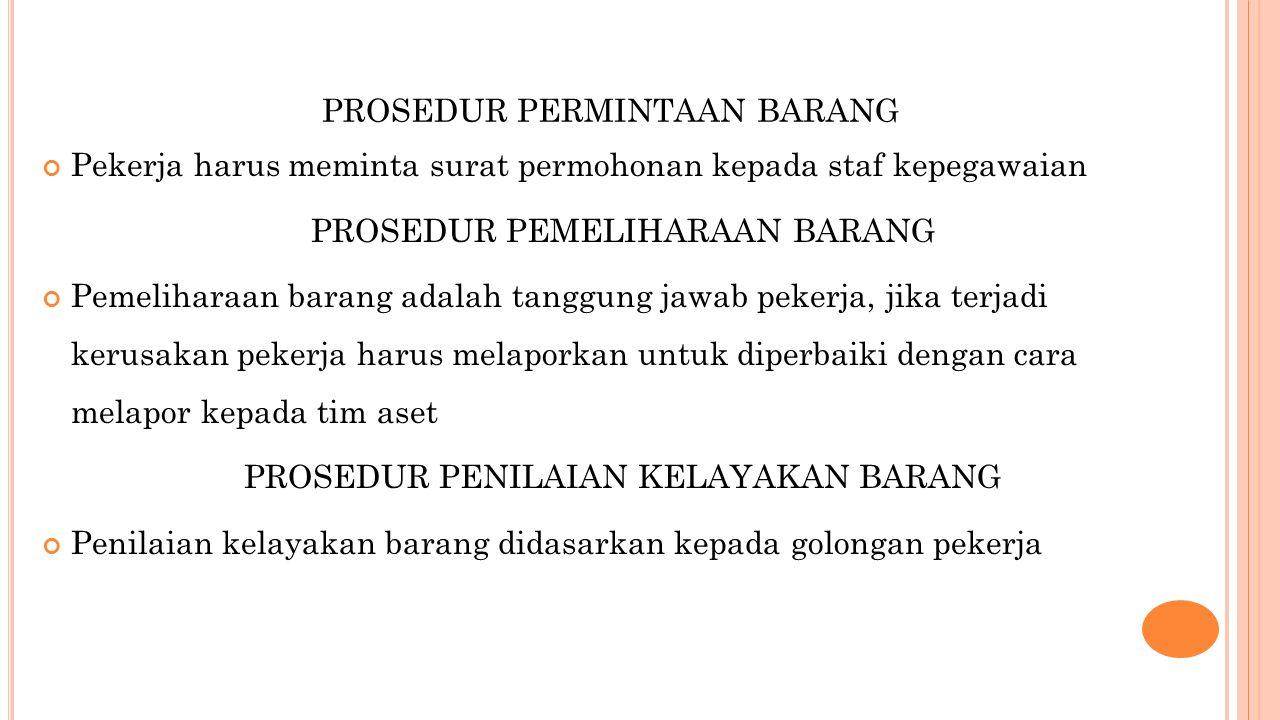 PROSEDUR PERMINTAAN BARANG Pekerja harus meminta surat permohonan kepada staf kepegawaian PROSEDUR PEMELIHARAAN BARANG Pemeliharaan barang adalah tang