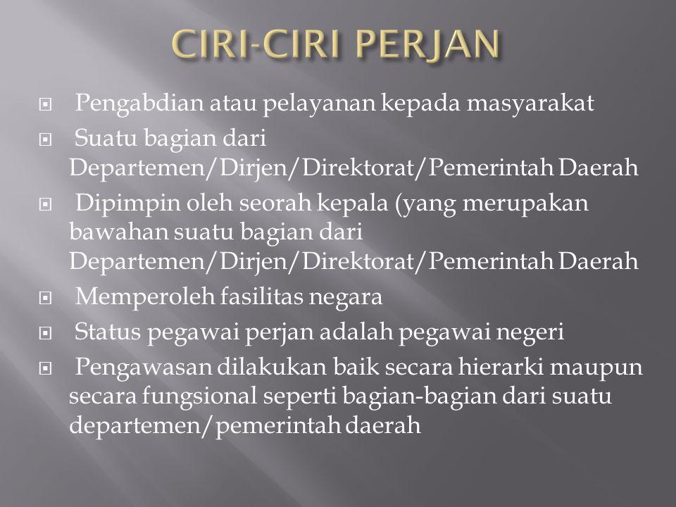  Pengabdian atau pelayanan kepada masyarakat  Suatu bagian dari Departemen/Dirjen/Direktorat/Pemerintah Daerah  Dipimpin oleh seorah kepala (yang m