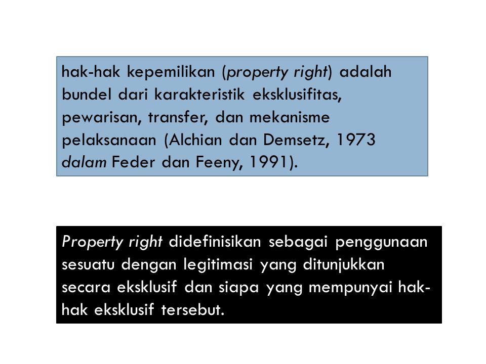Property right didefinisikan sebagai penggunaan sesuatu dengan legitimasi yang ditunjukkan secara eksklusif dan siapa yang mempunyai hak- hak eksklusi