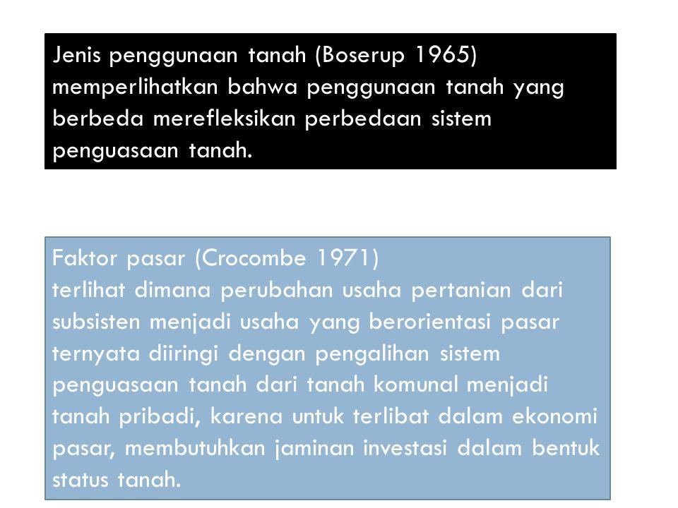Jenis penggunaan tanah (Boserup 1965) memperlihatkan bahwa penggunaan tanah yang berbeda merefleksikan perbedaan sistem penguasaan tanah. Faktor pasar