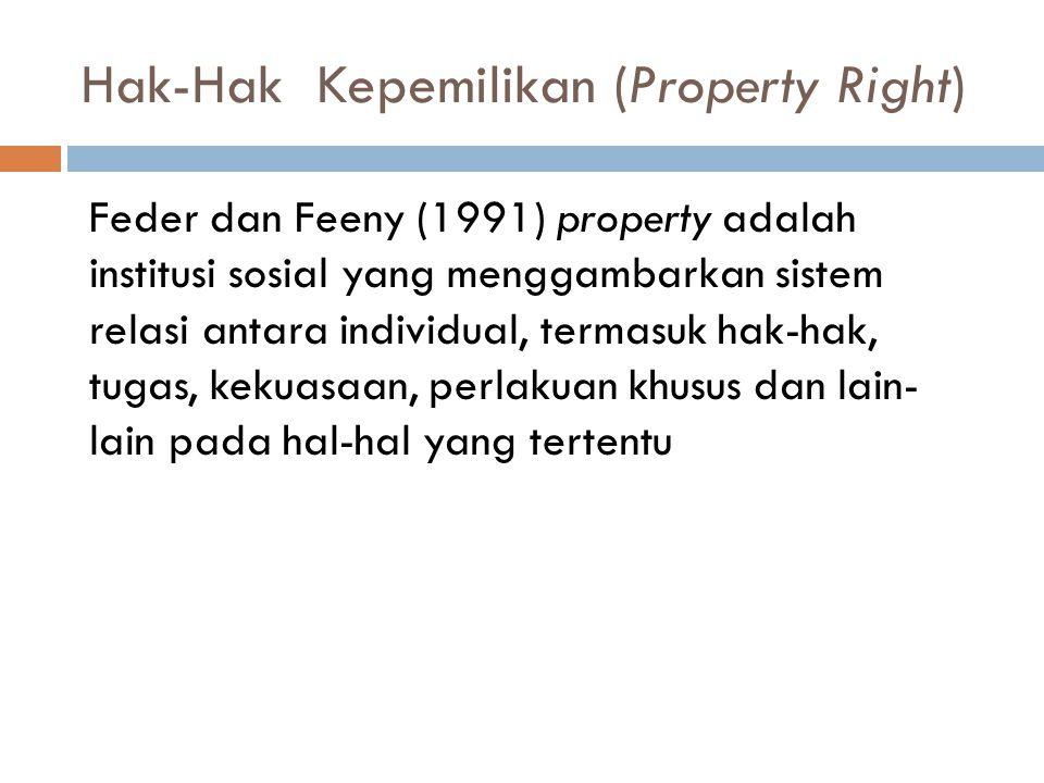 Hak-Hak Kepemilikan (Property Right) Feder dan Feeny (1991) property adalah institusi sosial yang menggambarkan sistem relasi antara individual, terma