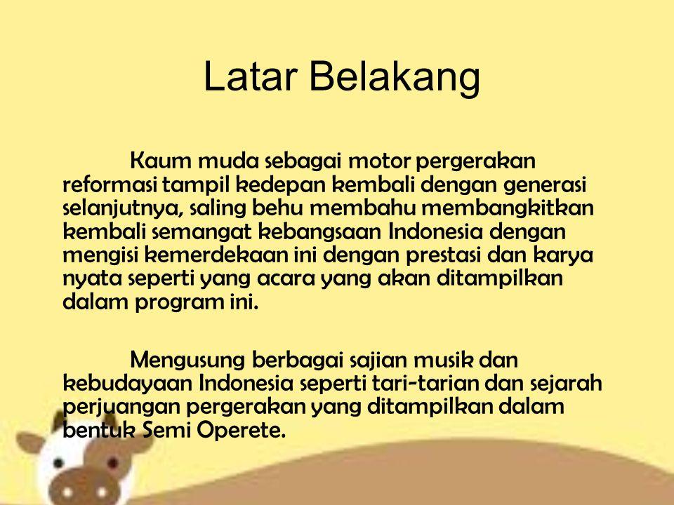 Program Description Format Acara : Music Concert Production Type : Live Location : Gelora Bung Karno Duration : 60 minutes Main Content : Live Concert Target Audience : - Jenis Kelamin : Pria & Wanita - S.E.S : B/C Class - Usia : R/D (remaja s/d dewasa) - Tingkat Pendidikan : SMA & Mahasiswa