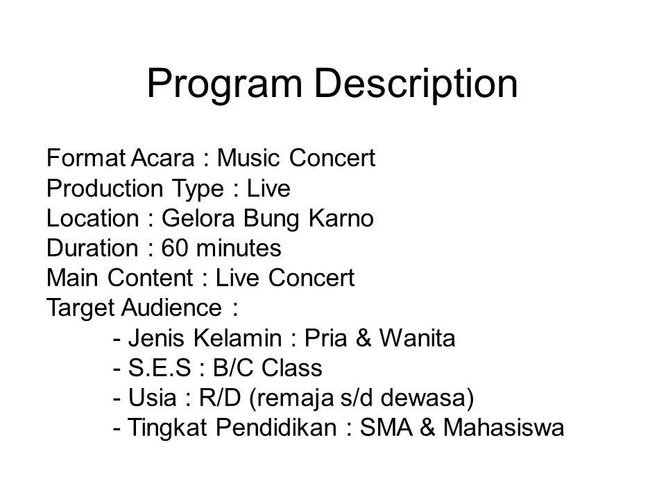 Program Description Format Acara : Music Concert Production Type : Live Location : Gelora Bung Karno Duration : 60 minutes Main Content : Live Concert