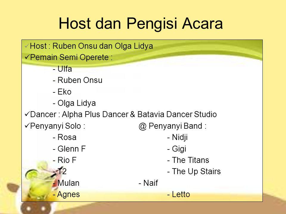 Host dan Pengisi Acara Host : Ruben Onsu dan Olga Lidya Pemain Semi Operete : - Ulfa - Ruben Onsu - Eko - Olga Lidya Dancer : Alpha Plus Dancer & Bata