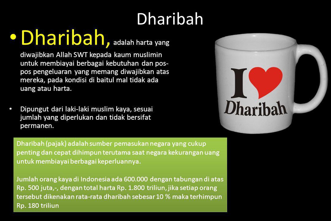 Dharibah Dharibah, adalah harta yang diwajibkan Allah SWT kepada kaum muslimin untuk membiayai berbagai kebutuhan dan pos- pos pengeluaran yang memang