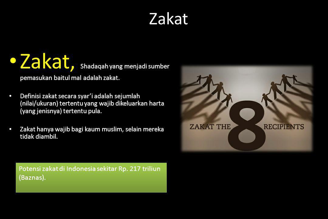 Zakat Zakat, Shadaqah yang menjadi sumber pemasukan baitul mal adalah zakat. Definisi zakat secara syar'i adalah sejumlah (nilai/ukuran) tertentu yang