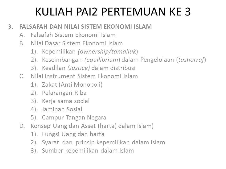 KULIAH PAI2 PERTEMUAN KE 3 3.FALSAFAH DAN NILAI SISTEM EKONOMI ISLAM A.Falsafah Sistem Ekonomi Islam B.Nilai Dasar Sistem Ekonomi Islam 1).Kepemilikan