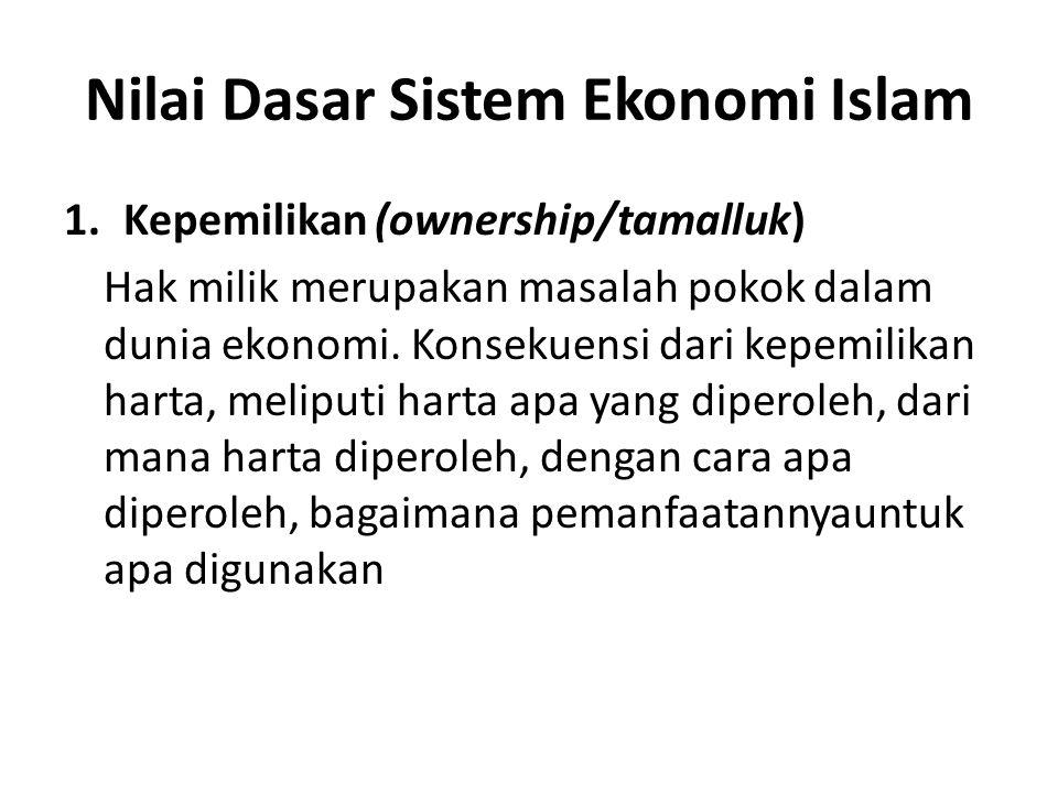 Nilai Dasar Sistem Ekonomi Islam 1.Kepemilikan (ownership/tamalluk) Hak milik merupakan masalah pokok dalam dunia ekonomi. Konsekuensi dari kepemilika
