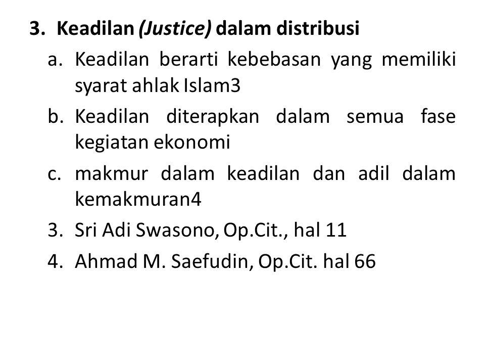 3.Keadilan (Justice) dalam distribusi a.Keadilan berarti kebebasan yang memiliki syarat ahlak Islam3 b.Keadilan diterapkan dalam semua fase kegiatan e