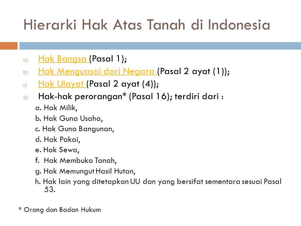 Hierarki Hak Atas Tanah di Indonesia a) Hak Bangsa (Pasal 1); Hak Bangsa b) Hak Menguasai dari Negara (Pasal 2 ayat (1)); Hak Menguasai dari Negara c) Hak Ulayat (Pasal 2 ayat (4)); Hak Ulayat d) Hak-hak perorangan* (Pasal 16); terdiri dari : a.