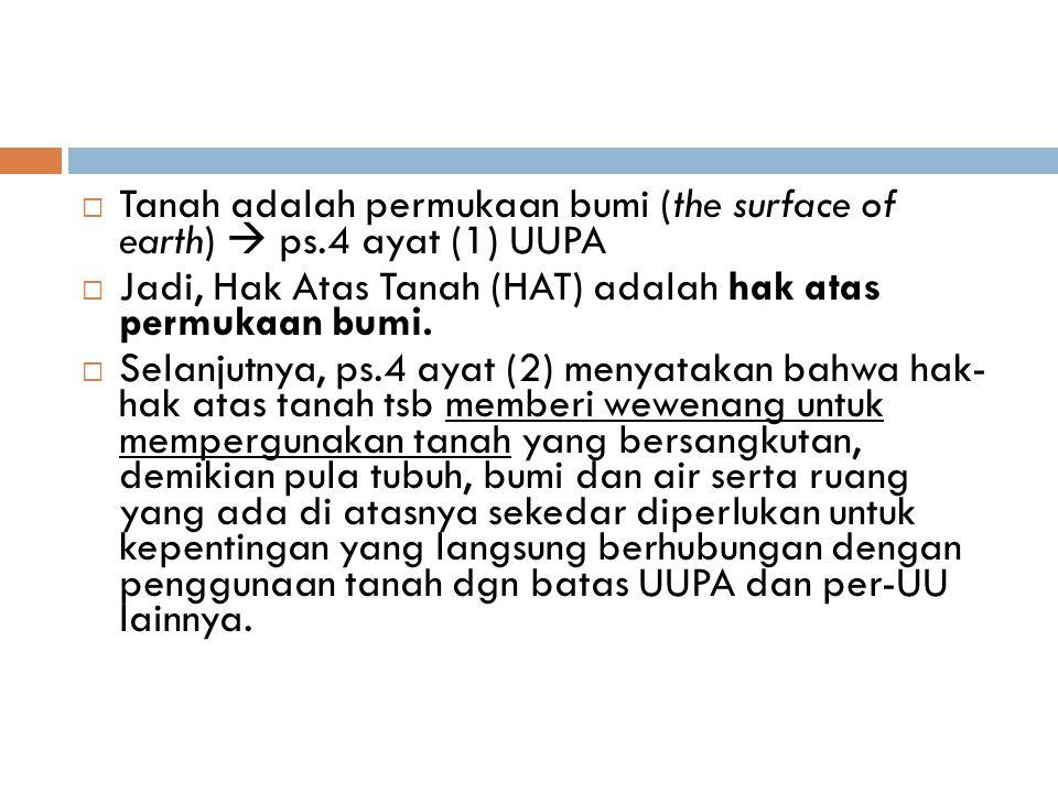 HAT secara Historis Sebelum UUPA 1.Tanah-tanah Hak Barat 2.Tanah-tanah Hak Indonesia Setelah UUPA Yaitu HAT yang diatur di dalam UUPA Hak Atas Tanah