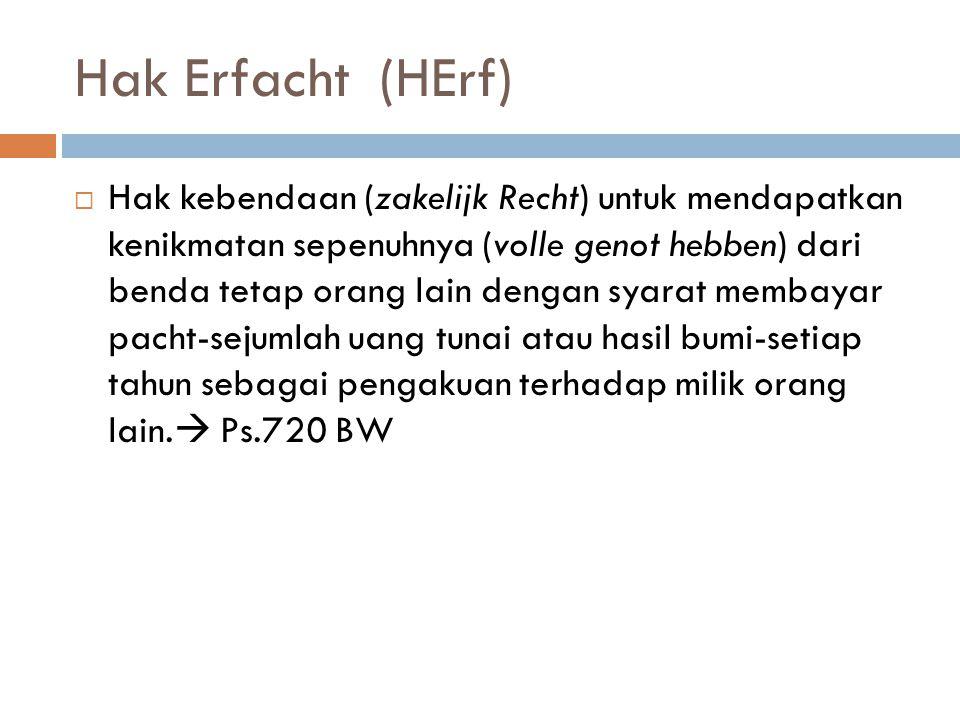 Hak Erfacht (HErf)  Hak kebendaan (zakelijk Recht) untuk mendapatkan kenikmatan sepenuhnya (volle genot hebben) dari benda tetap orang lain dengan syarat membayar pacht-sejumlah uang tunai atau hasil bumi-setiap tahun sebagai pengakuan terhadap milik orang lain.