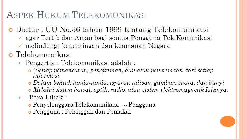 A SPEK H UKUM T ELEKOMUNIKASI Diatur : UU No.36 tahun 1999 tentang Telekomunikasi agar Tertib dan Aman bagi semua Pengguna Tek.Komunikasi melindungi kepentingan dan keamanan Negara Telekomunikasi Pengertian Telekomunikasi adalah : S etiap pemancaran, pengiriman, dan atau penerimaan dari setiap informasi Dalam bentuk tanda-tanda, isyarat, tulisan, gambar, suara, dan bunyi Melalui sistem kawat, optik, radio, atau sistem elektromagnetik Iainnya ; Para Pihak : Penyelenggara Telekomunikasi –-- Pengguna Pengguna : Pelanggan dan Pemakai