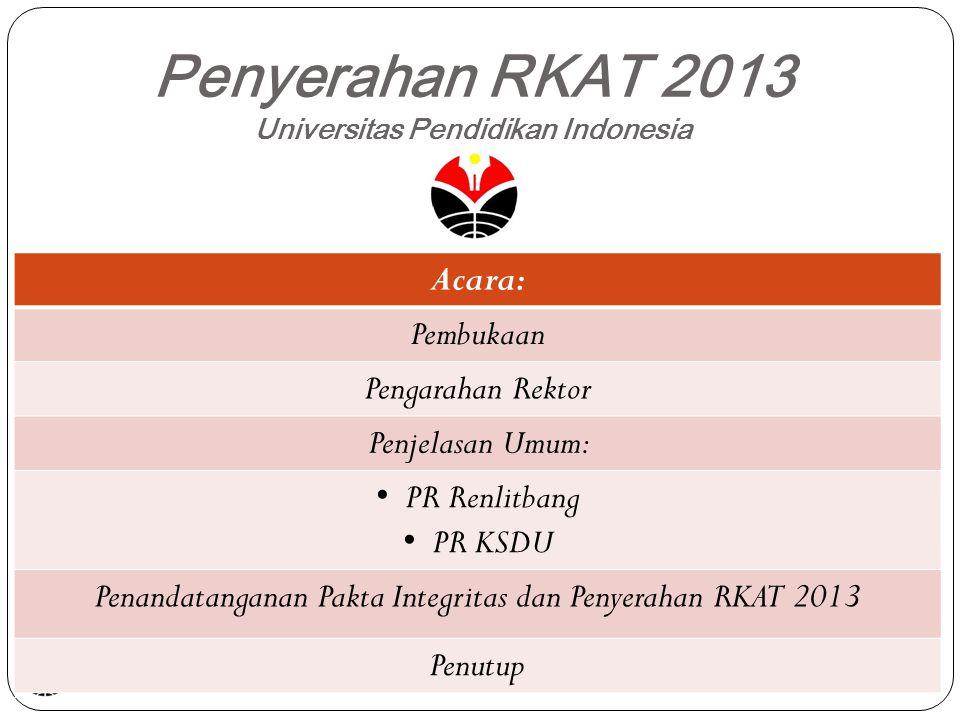 Penyerahan RKAT 2013 Universitas Pendidikan Indonesia Acara: Pembukaan Pengarahan Rektor Penjelasan Umum: PR Renlitbang PR KSDU Penandatanganan Pakta