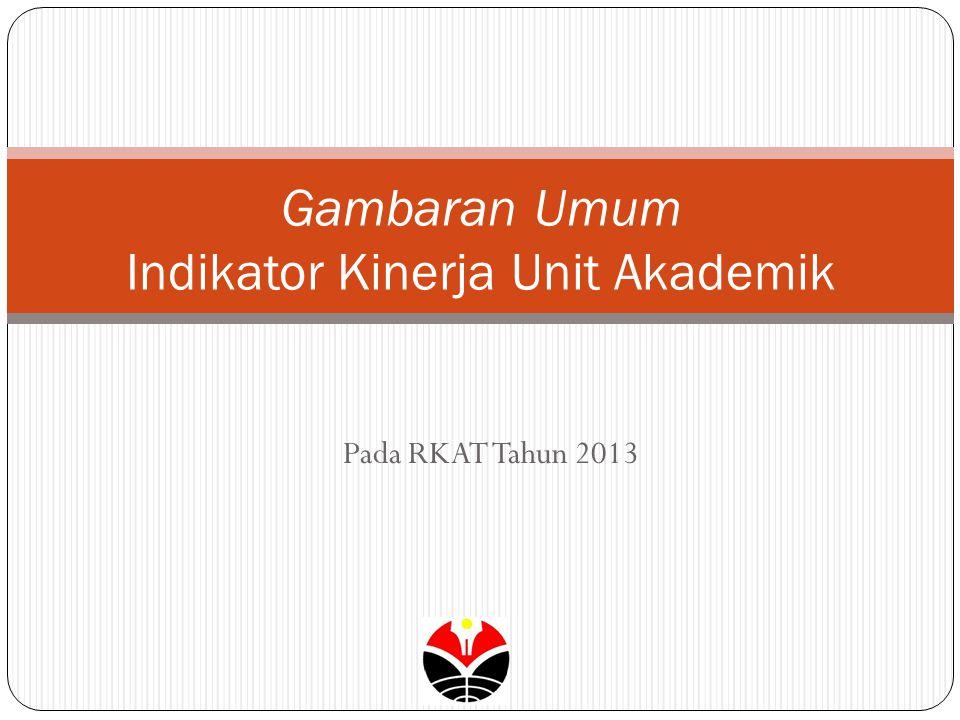 Pada RKAT Tahun 2013 Gambaran Umum Indikator Kinerja Unit Akademik