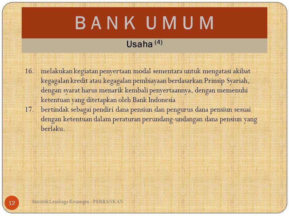 B A N K U M U M Statistik Lembaga Keuangan - PERBANKAN 12 Usaha (4) 16.melakukan kegiatan penyertaan modal sementara untuk mengatasi akibat kegagalan