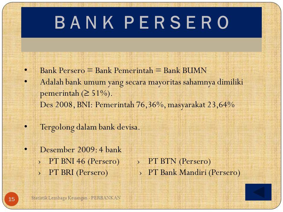 B A N K P E R S E R O Statistik Lembaga Keuangan - PERBANKAN 15 Bank Persero = Bank Pemerintah = Bank BUMN Adalah bank umum yang secara mayoritas saha